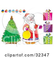 Clipart Illustration Of Santa Claus Standing By A Christmas Tree With Ornaments And Presents On A White Background
