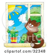 Clipart Illustration Of A Cute Brown House Cat Sitting By A Cactus In A Window Looking Outside On A Sunny Day