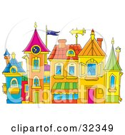 Clipart Illustration Of A Group Of Colorful Buildings With Turrets And A Clock Tower by Alex Bannykh