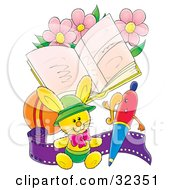 Clipart Illustration Of A Stuffed Bunny With A Pen Sitting In Front Of A Book With Pink Flowers A Ball And Roll Of Film