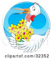 Clipart Illustration Of A White Stork Wearing A Red Bow And Carrying A Bouquet Of Yellow Flowers by Alex Bannykh