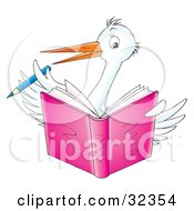 White Stork Bird Holding A Blue Pencil And Writing In A Pink Book