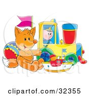 Clipart Illustration Of A Toy Fox Resting Against A Ball With A Boat And Toy Train by Alex Bannykh