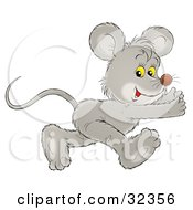 Clipart Illustration Of A Running Gray Mouse Glancing At The Viewer While Running To The Right