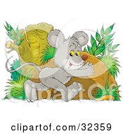 Clipart Illustration Of A Cute Gray Mouse With Yellow Eyes Running Towards A Hole