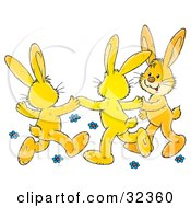 Clipart Illustration Of Three Yellow Bunny Rabbits Holding Hands And Dancing Around Blue Flowers