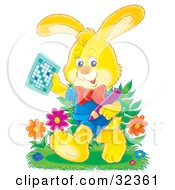 Clipart Illustration Of A Yellow Rabbit In Clothes Holding A Pencil And Word Puzzle Walking Through Flowers