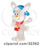 Clipart Illustration Of A Curious Gray Rabbit In Thought Wearing A Blue Hat And Red Scarf by Alex Bannykh