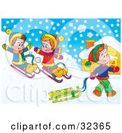 Clipart Illustration Of Children Having Fun Sledding On A Snowy Hill