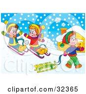 Clipart Illustration Of Children Having Fun Sledding On A Snowy Hill by Alex Bannykh