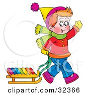 Clipart Illustration Of A Boy Waving While Pulling His Sled Behind Him On A Winter Day