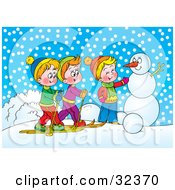 Clipart Illustration Of Two Boys Skiing And Chatting With Another Boy Making A Snowman On A Winter Day by Alex Bannykh