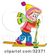 Clipart Illustration Of A Little Boy In Winter Clothes Skiing Past by Alex Bannykh
