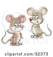 Clipart Illustration Of Two Friendly Cute Mice Looking At The Viewer One Waving
