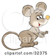 Clipart Illustration Of A Cute Brown Mouse With A Long Tail Facing To The Right by Alex Bannykh