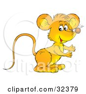 Clipart Illustration Of A Cute Orange Mouse Standing And Facing To The Right by Alex Bannykh