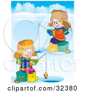 Clipart Illustration Of Two Boys Ice Fishing On A Frozen Lake by Alex Bannykh