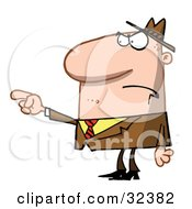 Clipart Illustration Of A Mad Caucasian Man Pointing His Finger While Accusing Someone by Hit Toon