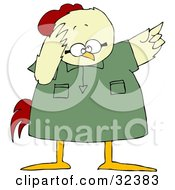 Clipart Illustration Of A Fretting Chicken In A Green Shirt Pointing Up To The Right by djart