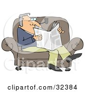 Relaxed Man Sitting On A Couch Smoking A Pipe And Reading A Newspaper