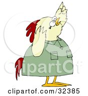 Clipart Illustration Of A Shocked Chicken In A Green Shirt Pointing Upwards by djart