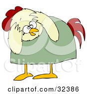 Clipart Illustration Of A Scared Chicken In A Green Shirt Bending Over And Covering Its Head by djart