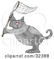 Clipart Illustration Of A Gray Cat Standing On Its Hind Legs And Holding Up A Fishing Net by djart