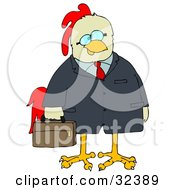 Clipart Illustration Of A Chicken Businessman In A Jacket Carrying A Briefcase by djart