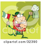 Clipart Illustration Of A Happy Red Haired Leprechaun With A God Tooth Dancing With A Flag And Mug Of Beer On A Green Background