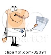 Male Caucasian Doctor Or Scientist Holding Papers And Smiling On A White Background