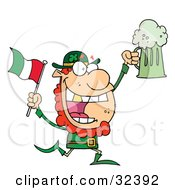 Clipart Illustration Of A Happy Leprechaun With A Golden Tooth Running With Green Beer And An Irish Flag by Hit Toon