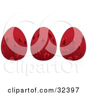 Clipart Illustration Of Three Red Easter Eggs With Red Floral Heart Designs