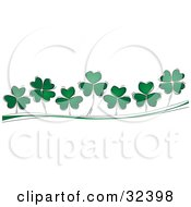 Three And Four Leaf Clovers Growing On A Green And White Wave