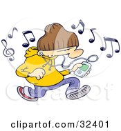 Clipart Illustration Of A Caucasian Man Wearing A Beanie Hat And Listening To Mp3 Tunes