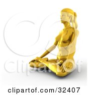 Fit Golden Woman In The Lotus Position Meditating And Facing To The Left