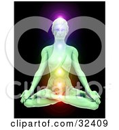 Clipart Illustration Of A Jade Woman Meditating In The Lotus Pose With Her Chakras Illuminated In Different Colors Over A Black Background