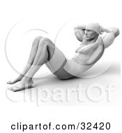 Clipart Illustration Of A Muscular Man Doing Sit Ups Or Crunches by Tonis Pan
