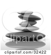 Clipart Illustration Of A Stack Of Flat Gray And Black Stones On A Reflective Surface