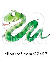Clipart Illustration Of A Cute Green Snake With Stripe Patterns Slithering Along