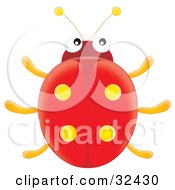 Clipart Illustration Of A Cute Red Ladybug With Yellow Spot Marks On Its Wings by Alex Bannykh