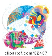 Clipart Illustration Of Two Colorful Angelfish Working On A Word Puzzle On A Coral Reef
