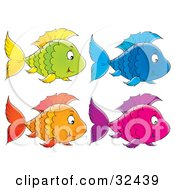 Clipart Illustration Of A Green Fish With Yellow Fins Blue Fish Purple And Pink Fish And An Orange Fish Swimming