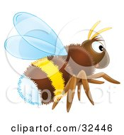 Clipart Illustration Of A Hairy Brown White And Yellow Bumble Bee Flying