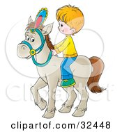 Clipart Illustration Of A Little Blond Boy Riding A White Horse