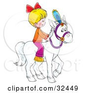 Little Blond Girl Riding A White Horse