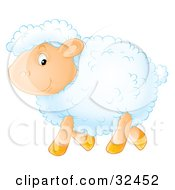 Clipart Illustration Of A Happy White Sheep With Fluffy Wool Walking By In Profile