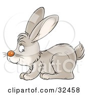 Clipart Illustration Of A Hopping Gray Bunny Rabbit In Profile Facing Left