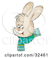 Clipart Illustration Of A Cute Beige Bunny With Big Ears Wearing A Green Scarf by Alex Bannykh