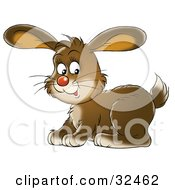 Clipart Illustration Of A Cute Brown Bunny Rabbit Facing To The Left And Glancing At The Viewer