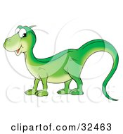 Clipart Illustration Of A Friendly Green Lizard With A Long Tail Glancing At The Viewer by Alex Bannykh